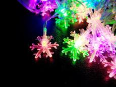 Гірлянда нитка 40LED з насадкою сніжинка 40 LED RGB