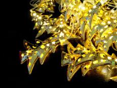 Гірлянда нитка LED з золотою насадкую ялинка тепле світло 1-120