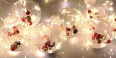 Штора з прозорими кульками в середині з Дідом Морозом Штора