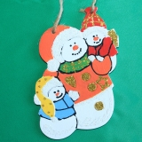 Снеговик с малышами wood3
